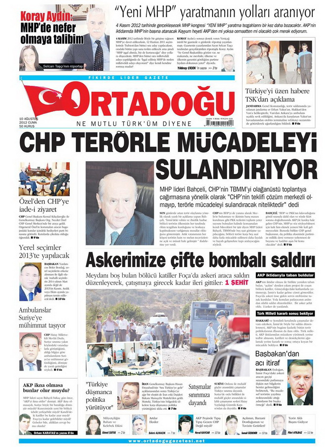 Gazete Manşetleri - 10 Ağustos 2012 Cuma 8