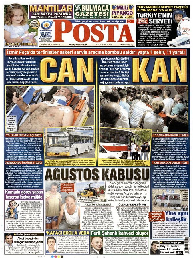 Gazete Manşetleri - 10 Ağustos 2012 Cuma 9