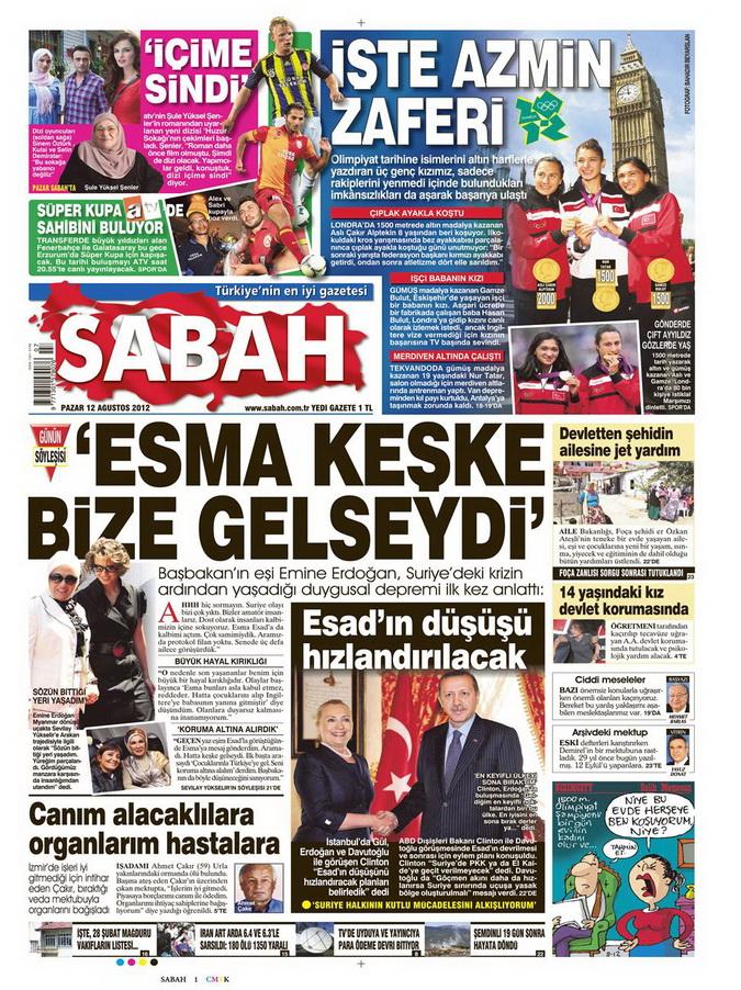 Gazete Manşetleri - 12 Ağustos 2012 Pazar 11