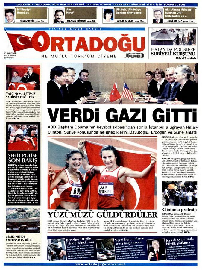 Gazete Manşetleri - 12 Ağustos 2012 Pazar 13