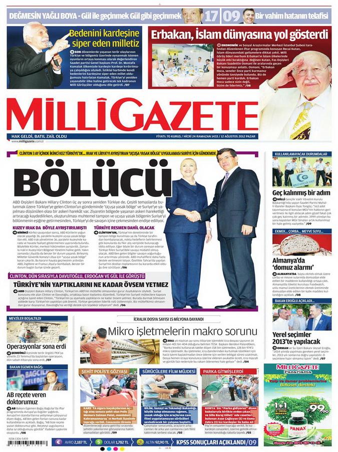 Gazete Manşetleri - 12 Ağustos 2012 Pazar 15