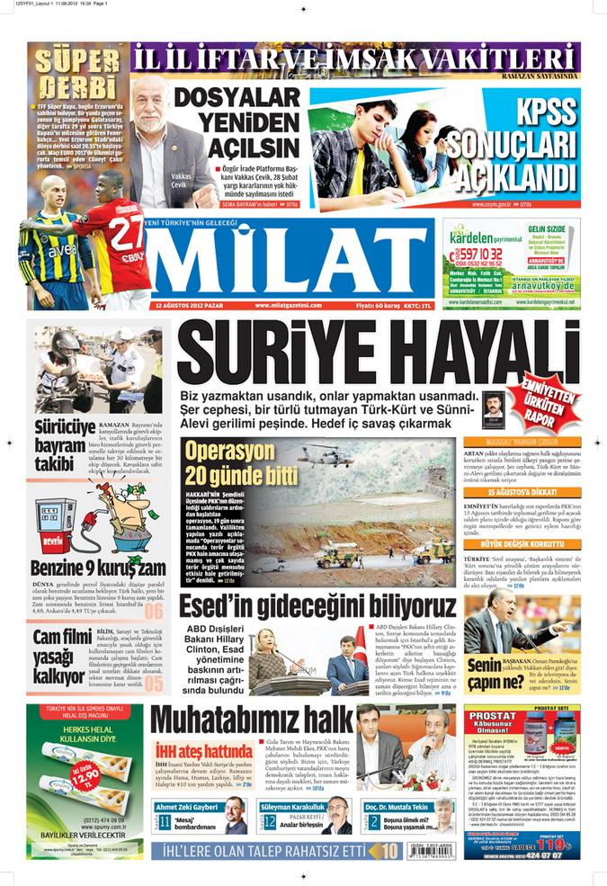 Gazete Manşetleri - 12 Ağustos 2012 Pazar 16