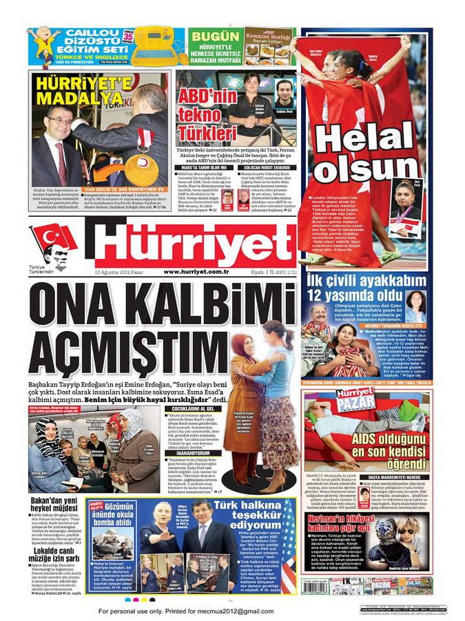 Gazete Manşetleri - 12 Ağustos 2012 Pazar 17