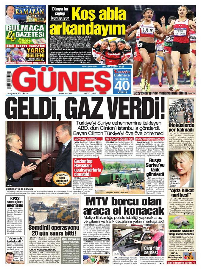 Gazete Manşetleri - 12 Ağustos 2012 Pazar 19