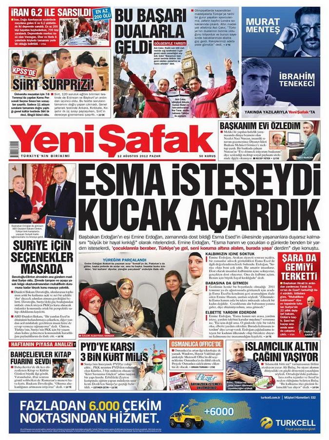 Gazete Manşetleri - 12 Ağustos 2012 Pazar 2