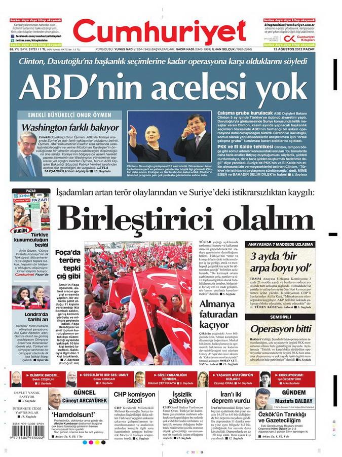 Gazete Manşetleri - 12 Ağustos 2012 Pazar 20