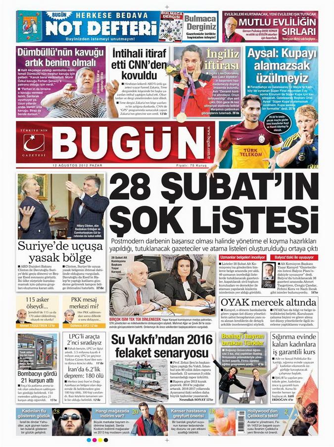 Gazete Manşetleri - 12 Ağustos 2012 Pazar 21