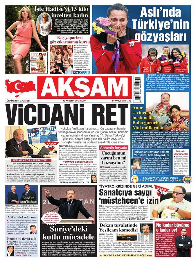 Gazete Manşetleri - 12 Ağustos 2012 Pazar 23