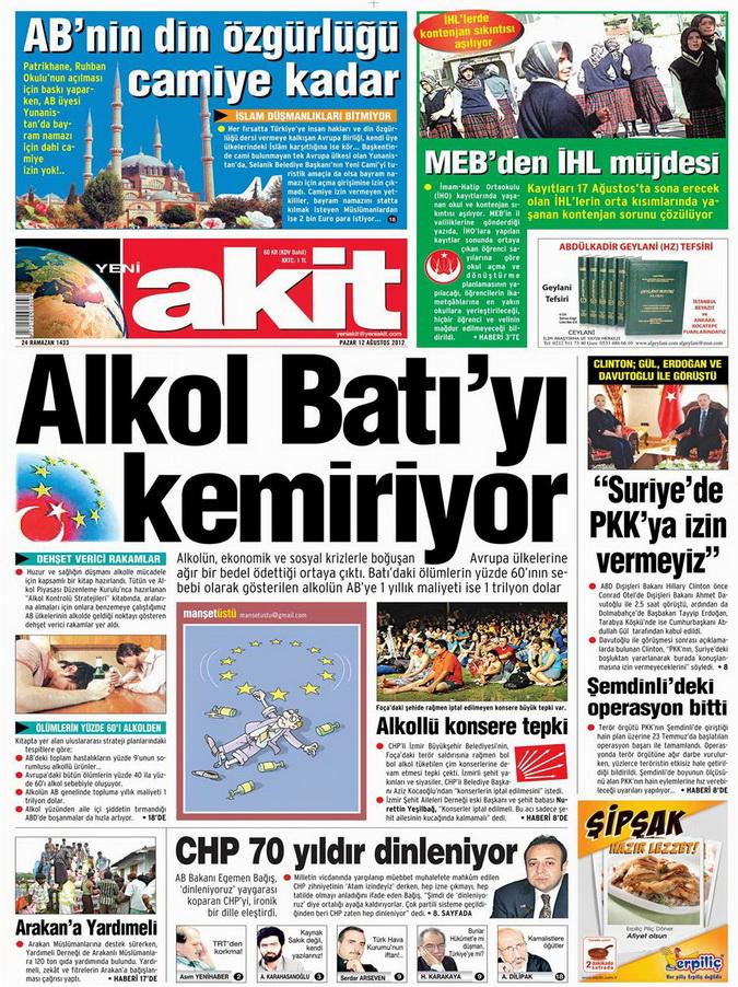 Gazete Manşetleri - 12 Ağustos 2012 Pazar 4