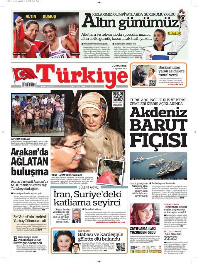 Gazete Manşetleri - 12 Ağustos 2012 Pazar 6