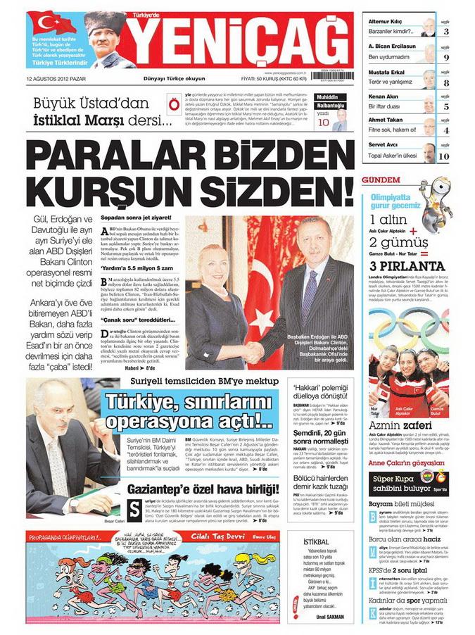 Gazete Manşetleri - 12 Ağustos 2012 Pazar 7
