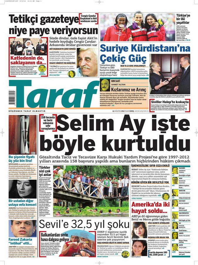 Gazete Manşetleri - 12 Ağustos 2012 Pazar 8