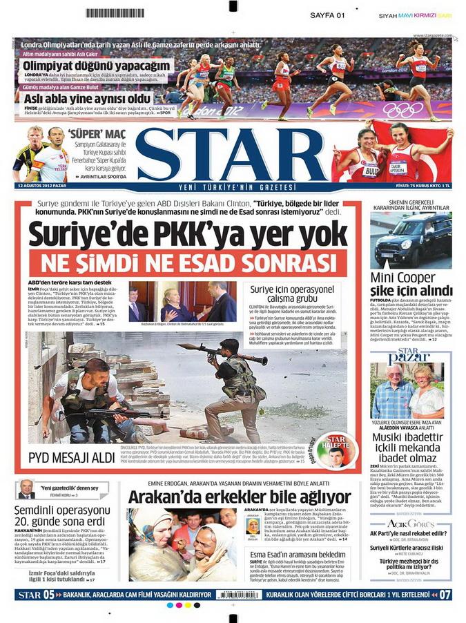 Gazete Manşetleri - 12 Ağustos 2012 Pazar 9