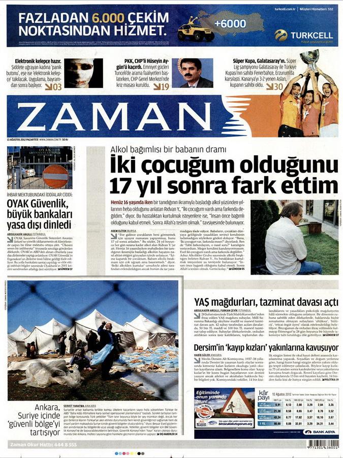 Gazete Manşetleri - 13 Ağustos 2012 Pazartesi galerisi resim 1
