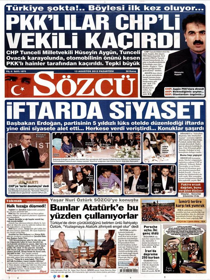 Gazete Manşetleri - 13 Ağustos 2012 Pazartesi 10