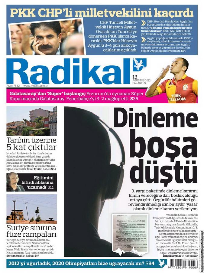 Gazete Manşetleri - 13 Ağustos 2012 Pazartesi 12