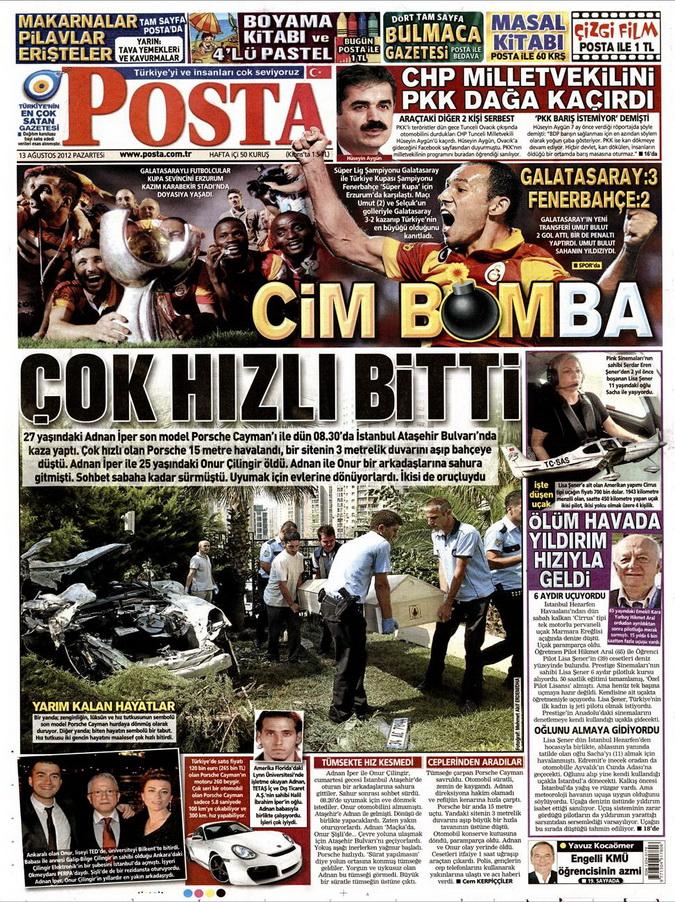 Gazete Manşetleri - 13 Ağustos 2012 Pazartesi 13