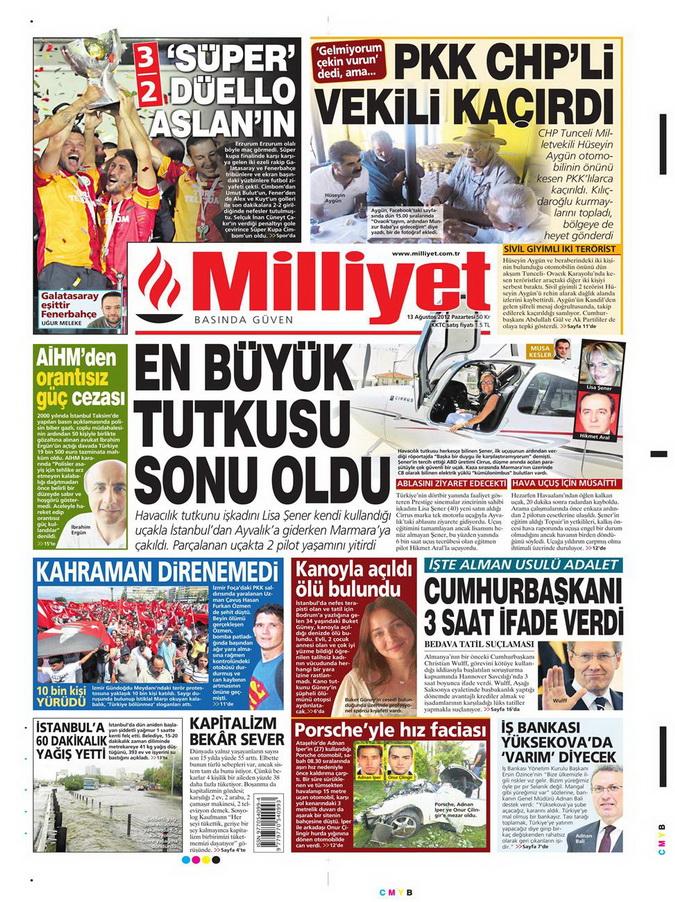 Gazete Manşetleri - 13 Ağustos 2012 Pazartesi 15