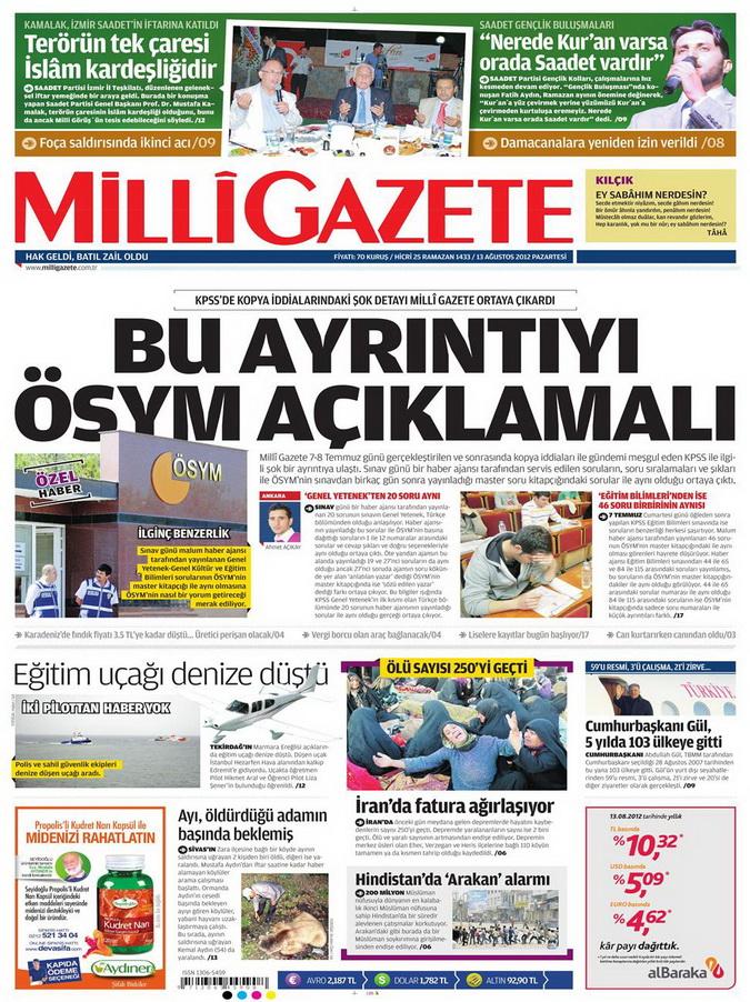 Gazete Manşetleri - 13 Ağustos 2012 Pazartesi 16