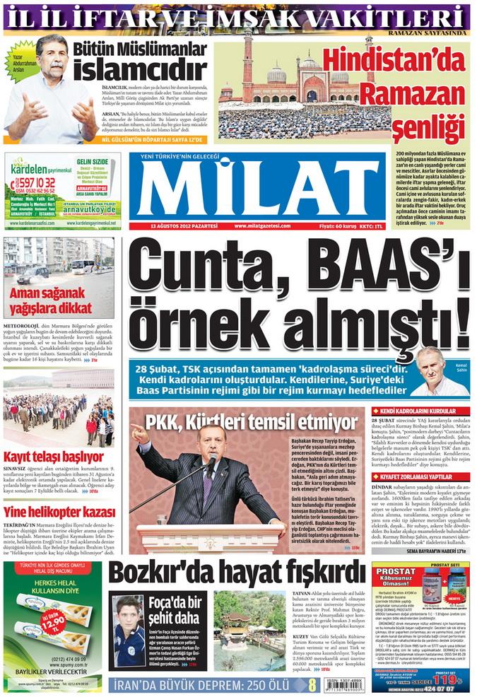 Gazete Manşetleri - 13 Ağustos 2012 Pazartesi 17