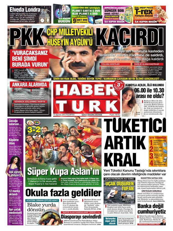 Gazete Manşetleri - 13 Ağustos 2012 Pazartesi 19