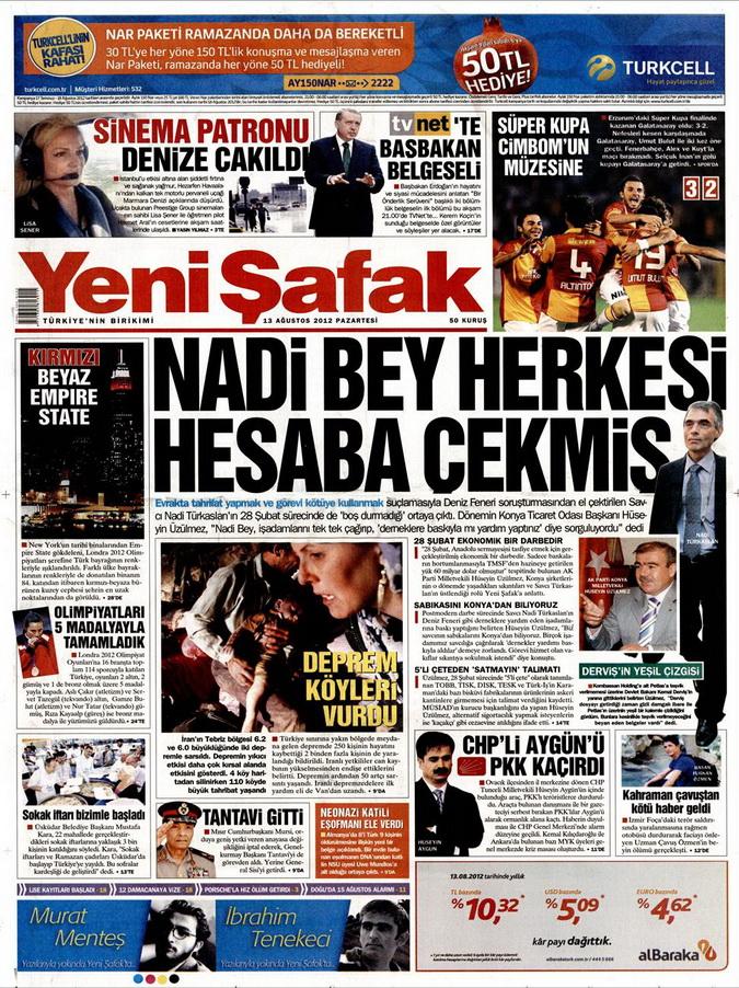 Gazete Manşetleri - 13 Ağustos 2012 Pazartesi 2