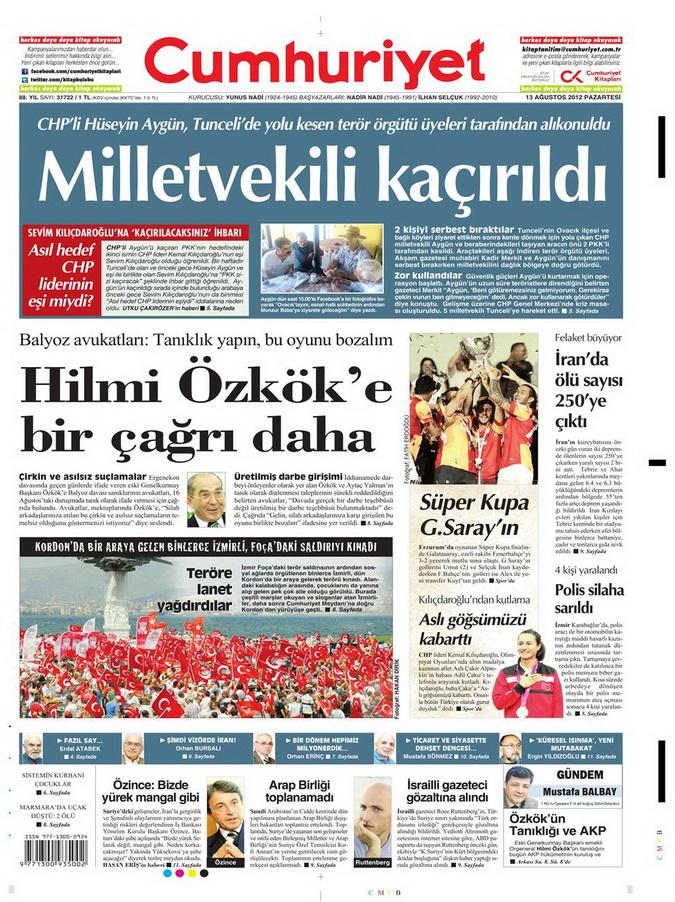 Gazete Manşetleri - 13 Ağustos 2012 Pazartesi 21