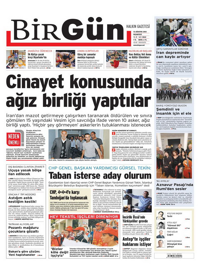 Gazete Manşetleri - 13 Ağustos 2012 Pazartesi 23