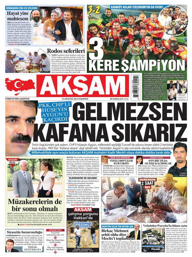 Gazete Manşetleri - 13 Ağustos 2012 Pazartesi 24