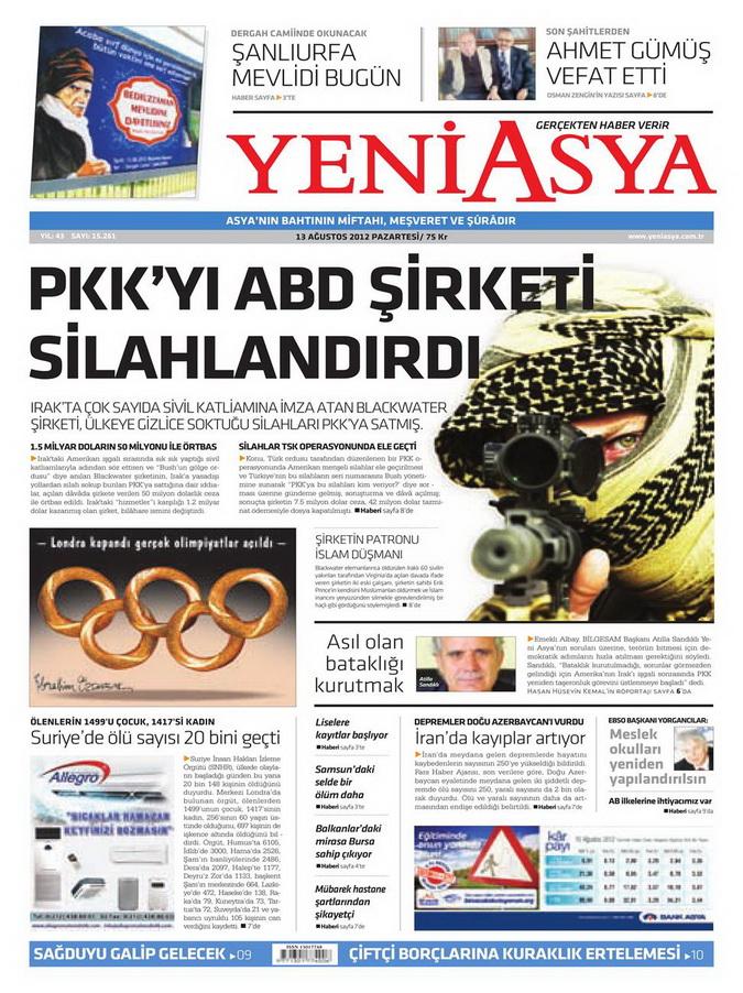 Gazete Manşetleri - 13 Ağustos 2012 Pazartesi 3