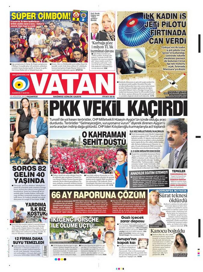 Gazete Manşetleri - 13 Ağustos 2012 Pazartesi 5