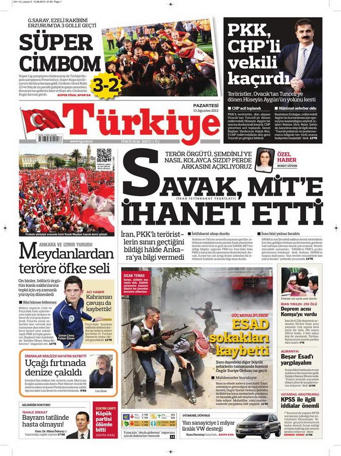 Gazete Manşetleri - 13 Ağustos 2012 Pazartesi 6