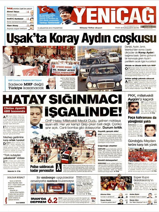 Gazete Manşetleri - 13 Ağustos 2012 Pazartesi 7