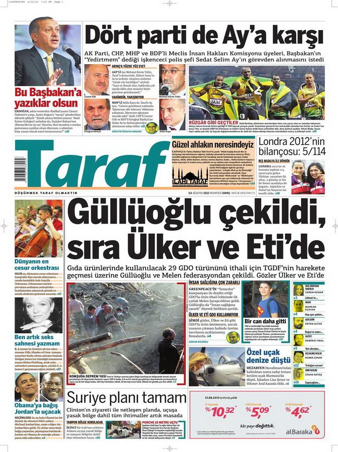 Gazete Manşetleri - 13 Ağustos 2012 Pazartesi 8