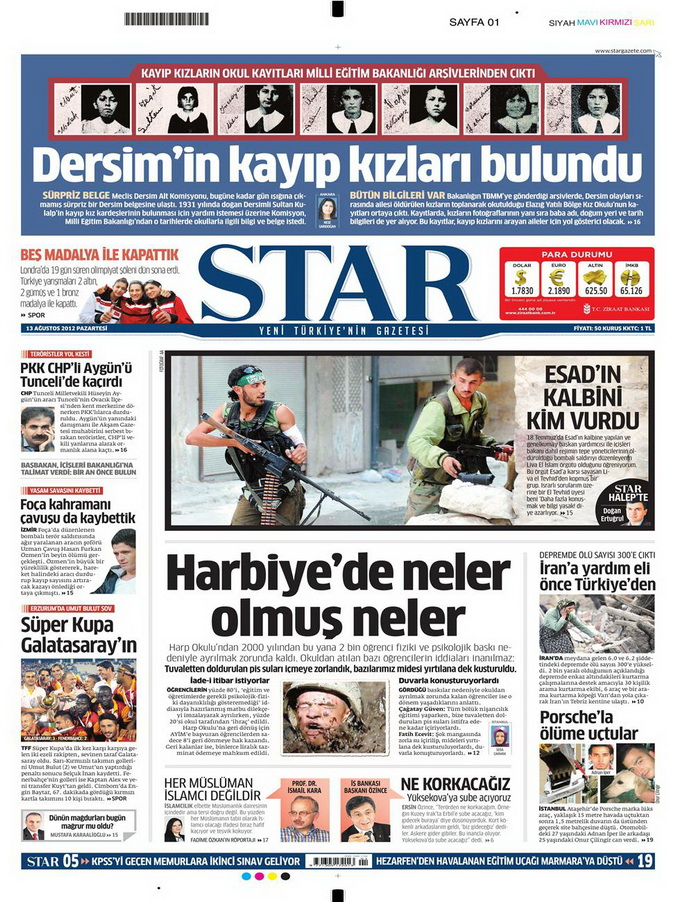 Gazete Manşetleri - 13 Ağustos 2012 Pazartesi 9
