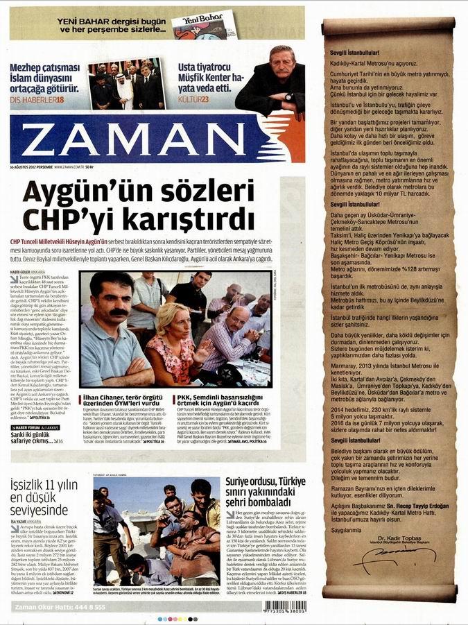 Gazete Manşetleri - 16 Ağustos Perşembe 1