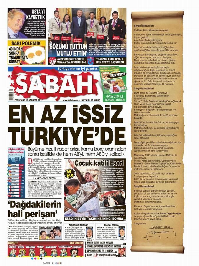 Gazete Manşetleri - 16 Ağustos Perşembe 11