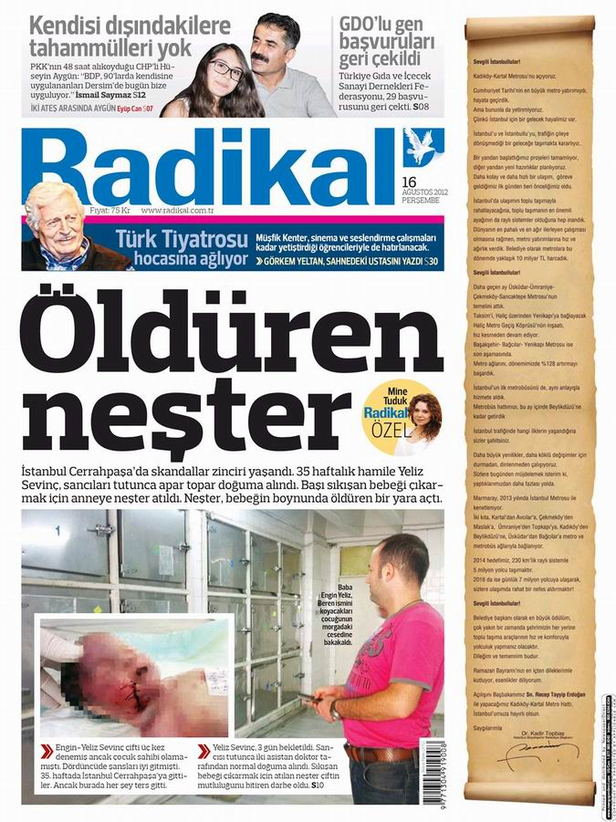 Gazete Manşetleri - 16 Ağustos Perşembe 12