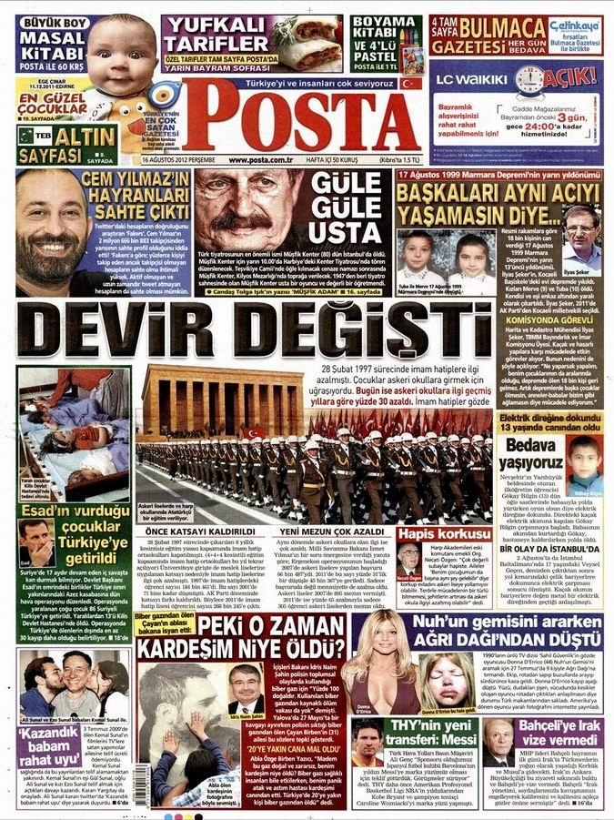 Gazete Manşetleri - 16 Ağustos Perşembe 13