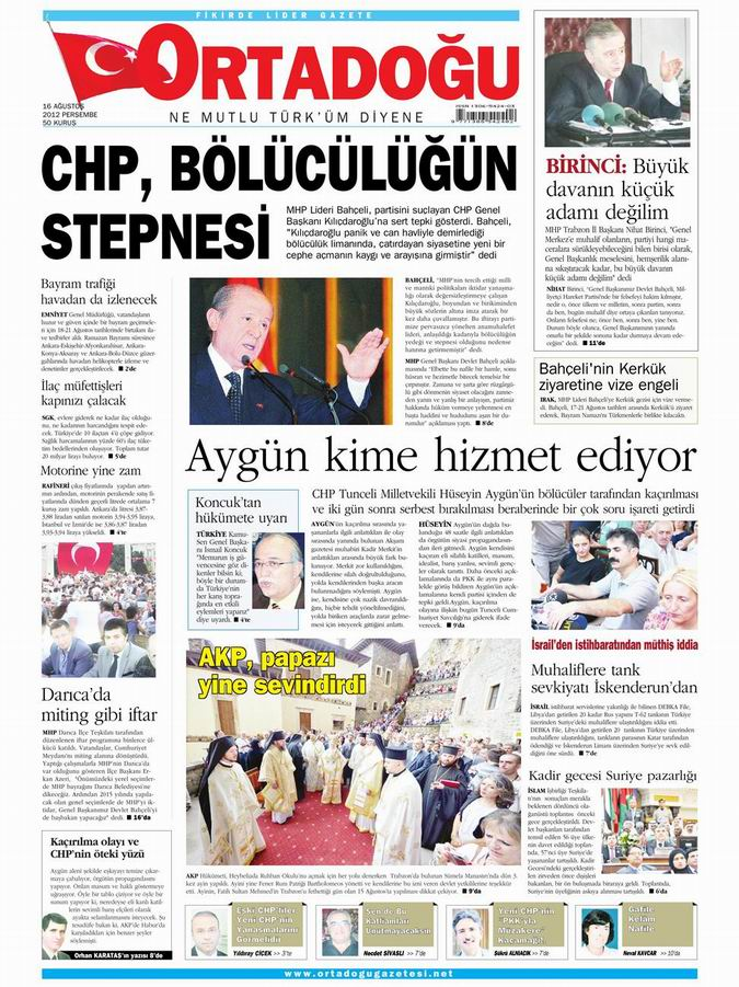 Gazete Manşetleri - 16 Ağustos Perşembe 14