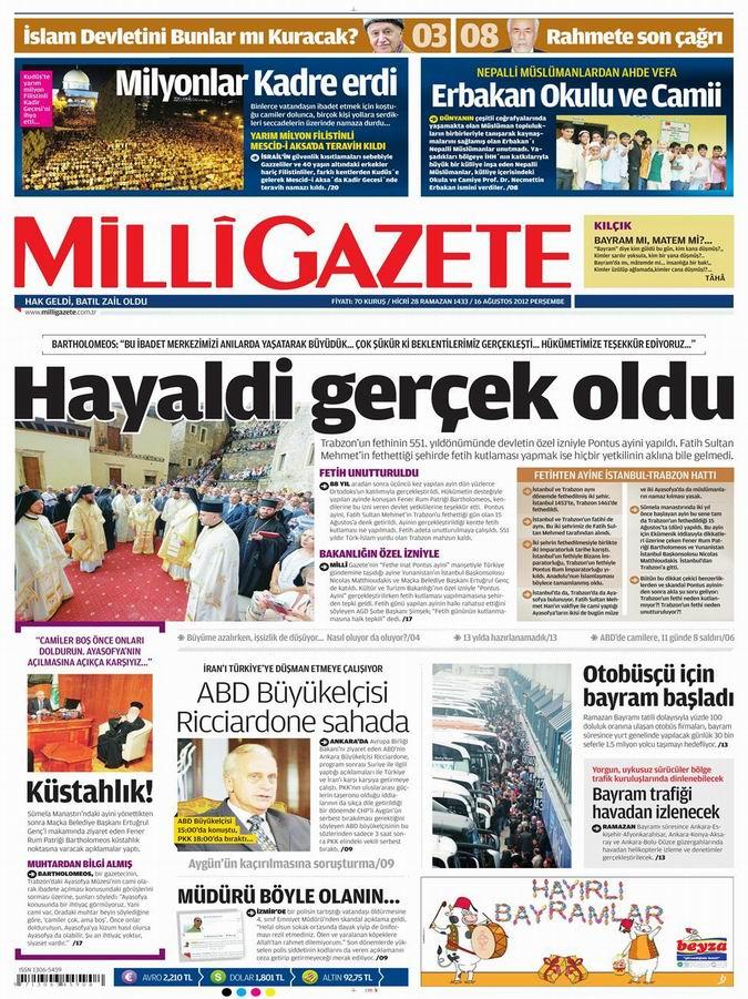 Gazete Manşetleri - 16 Ağustos Perşembe 16