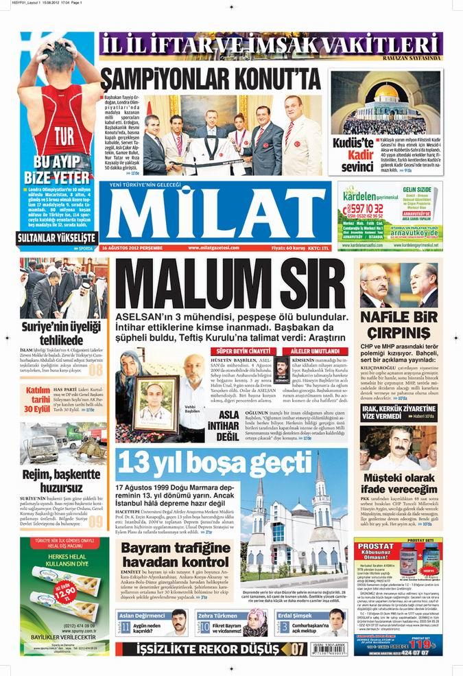 Gazete Manşetleri - 16 Ağustos Perşembe 17
