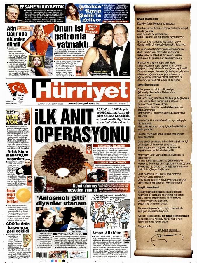 Gazete Manşetleri - 16 Ağustos Perşembe 18