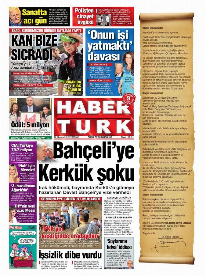 Gazete Manşetleri - 16 Ağustos Perşembe 19