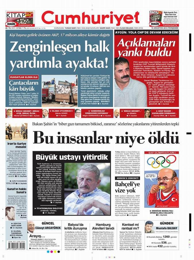 Gazete Manşetleri - 16 Ağustos Perşembe 20