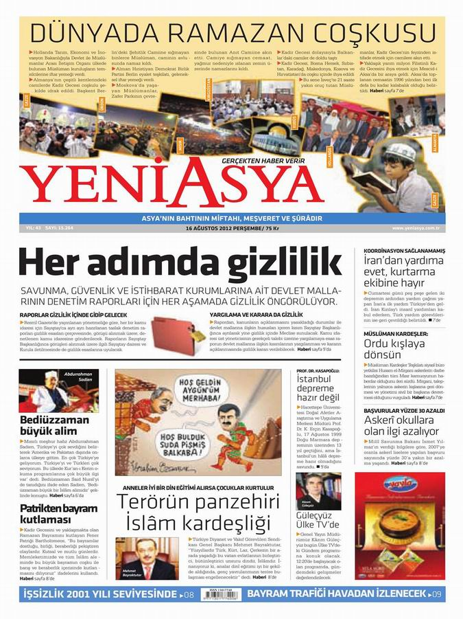 Gazete Manşetleri - 16 Ağustos Perşembe 3