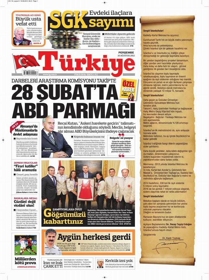 Gazete Manşetleri - 16 Ağustos Perşembe 6