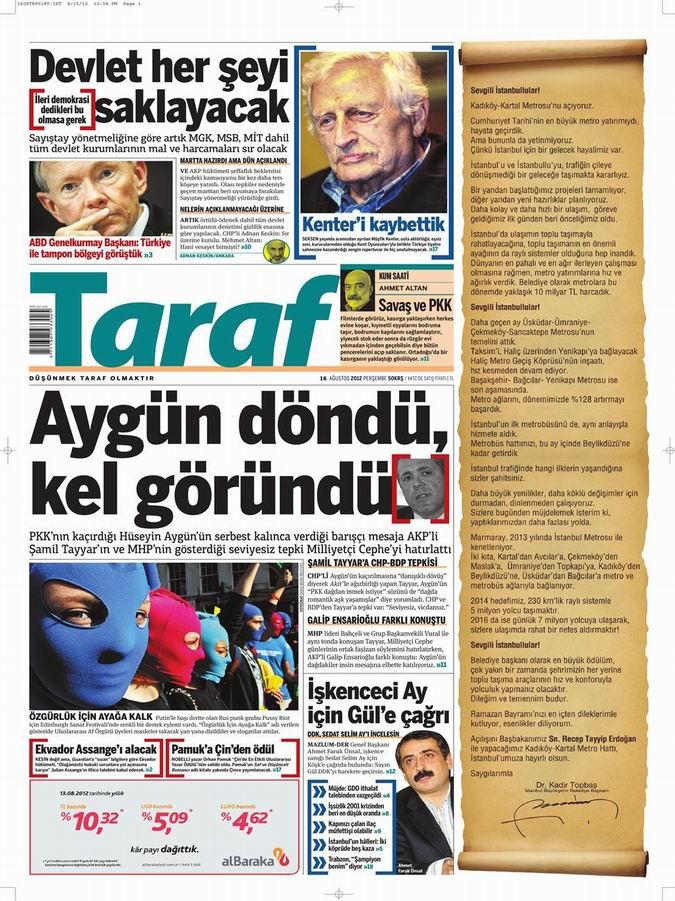 Gazete Manşetleri - 16 Ağustos Perşembe 8