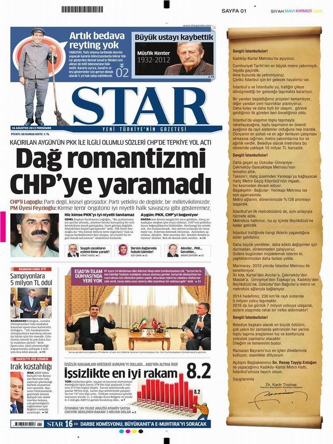 Gazete Manşetleri - 16 Ağustos Perşembe 9
