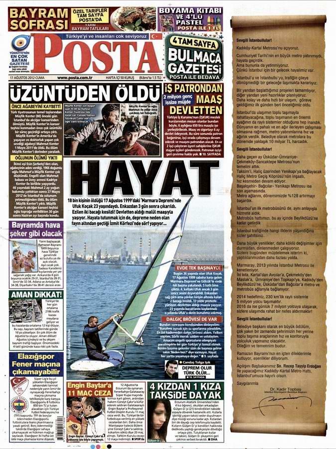 Gazete Manşetleri - 17 Ağustos Cuma 13